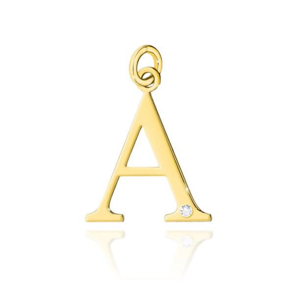 złota zawieszka litera