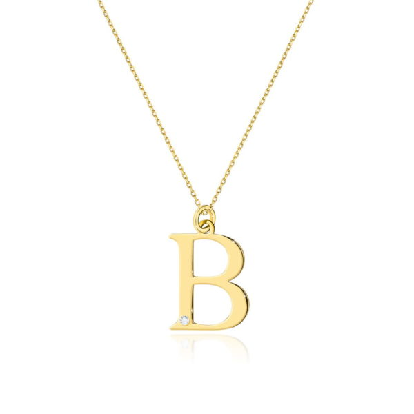 Złota zawieszka litera B z brylantem i łańcuszkiem