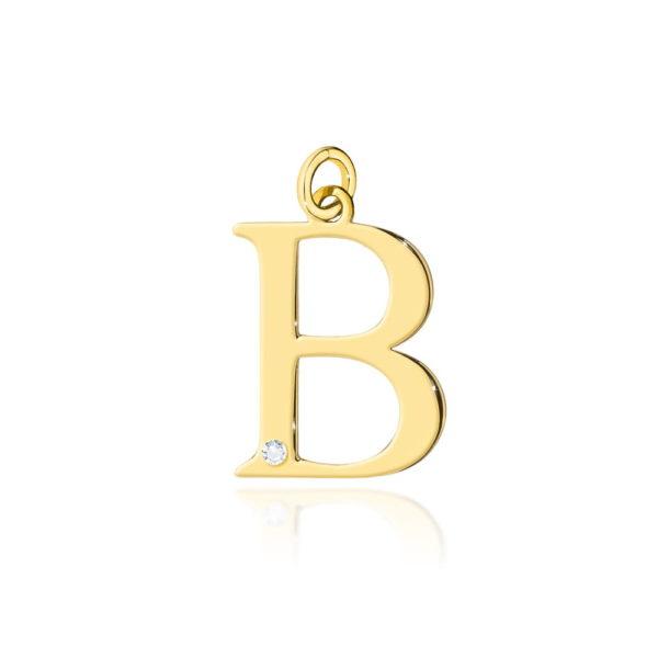 Złota zawieszka litera B z brylantem