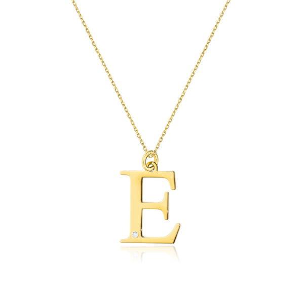 zawieszka litera E z brylantem i łańcuszkiem