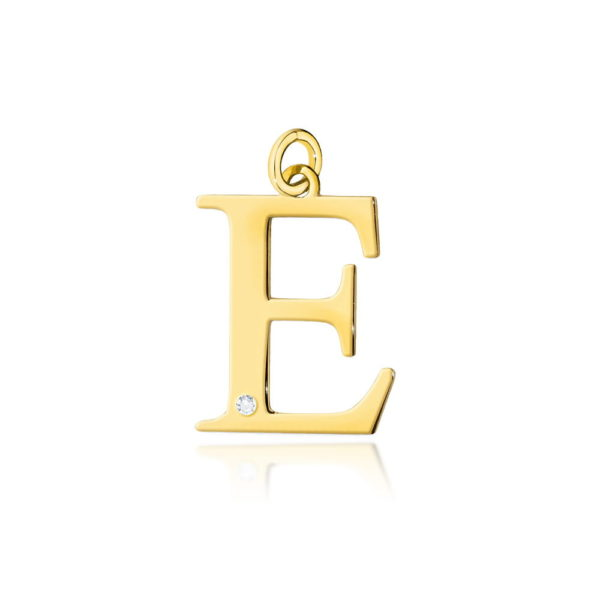 zawieszka litera E z brylantem