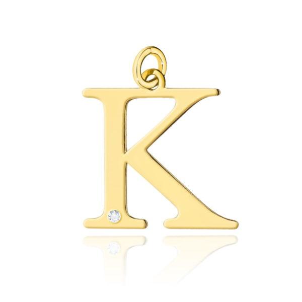 zawieszka litera K z brylantem