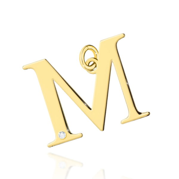 Złota zawieszka litera M z brylantem
