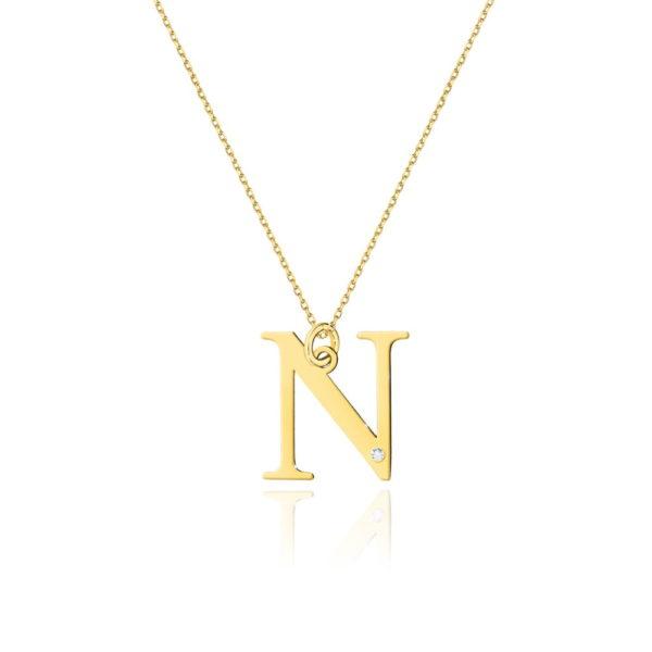 zawieszka litera N z brylantem i łańcuszkiem