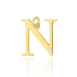 zawieszka litera N z brylantem