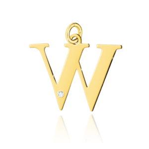 zawieszka litera W z brylantem